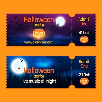 Realistic halloween tickets collection