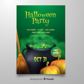Realistic halloween toxic gas from melting pot poster