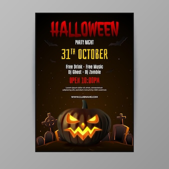Realistic halloween vertical party flyer template