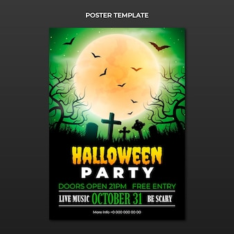 Realistic halloween vertical poster template