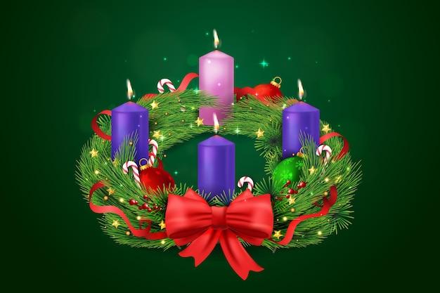 Realistic hand drawn advent wreath