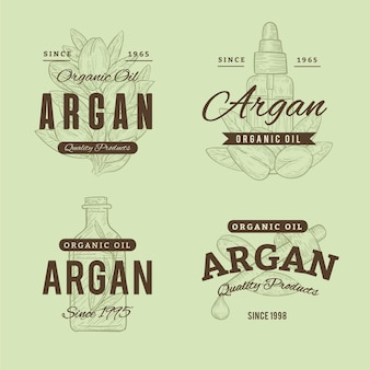 Realistic hand drawn argan oil badge collection