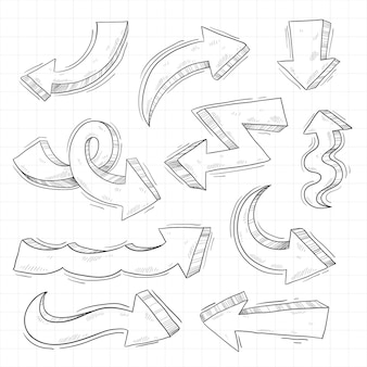 リアルな手描きの矢印コレクション