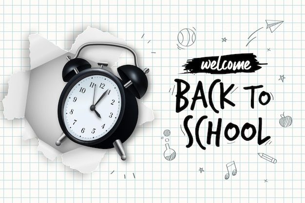 Realistic hand drawn back to school background