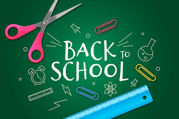 Realistic and hand drawn back to school wallpaper