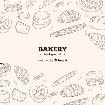 Realistic hand drawn bakery background