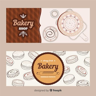 Realistic hand drawn bakery banners