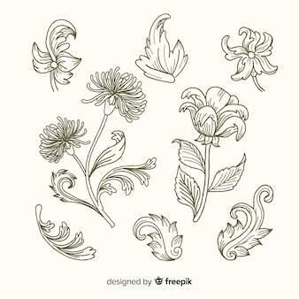 現実的な手描きのバロック様式のレトロな花