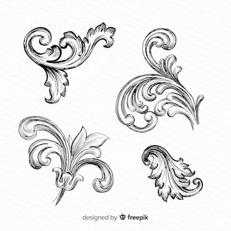 Realistic hand drawn baroque vintage flowers