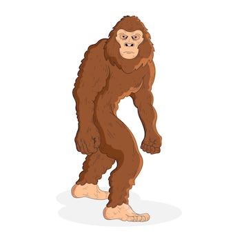 Illustrazione di sasquatch bigfoot disegnato a mano realistico
