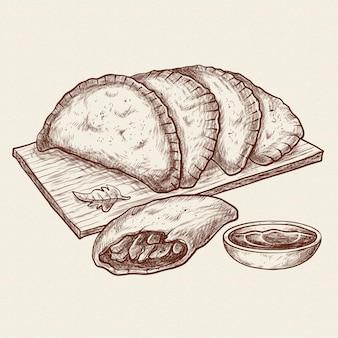 Реалистичная рисованная бразильская еда пастель