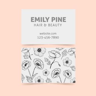 花のテンプレートと現実的な手描き名刺