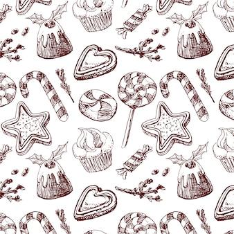 Realistic hand drawn christmas pattern