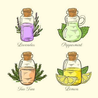 Realistic hand drawn essential oil bottle collection