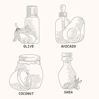 Realistic hand drawn essential oil bottle pack
