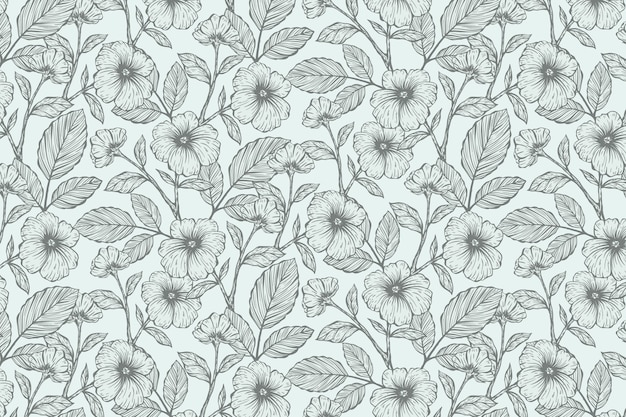 Realistic hand drawn floral background