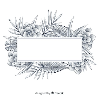 Realistic hand drawn floral banner