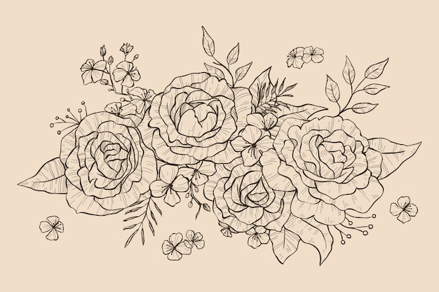 Realistic hand drawn floral bouquet