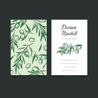 Realistic hand drawn floral business card collection template