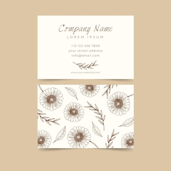 Realistic hand-drawn floral business card concept