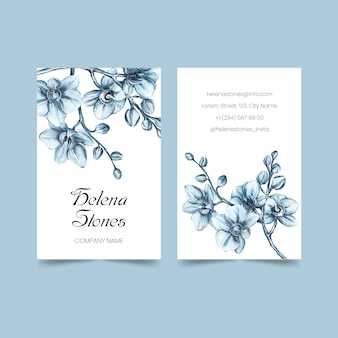 Realistic hand drawn floral business card pack template