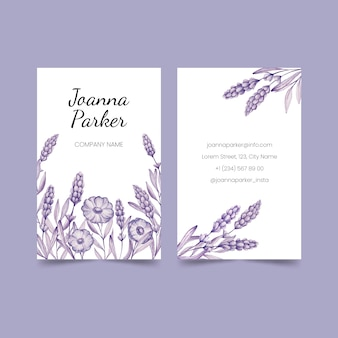 Realistic hand drawn floral business card set template