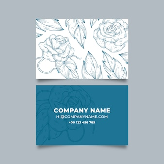 Realistic hand-drawn floral business card template concept