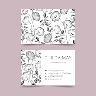 Realistic hand drawn floral business card template pack