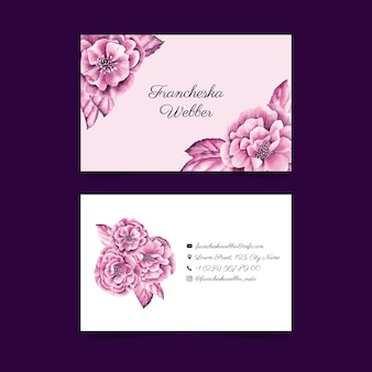 Realistic hand drawn floral business card template set