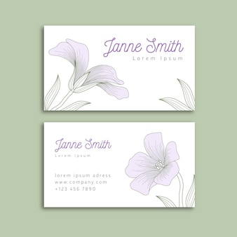 Realistic hand-drawn floral business card template theme