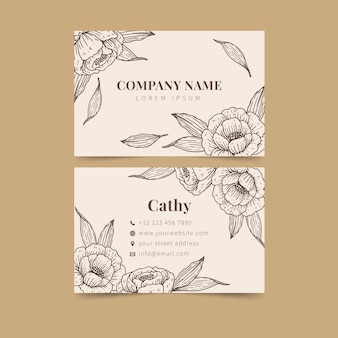 Realistic hand-drawn floral business card template