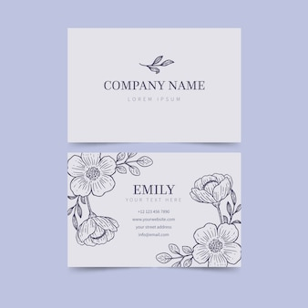 Realistic hand drawn floral business card template