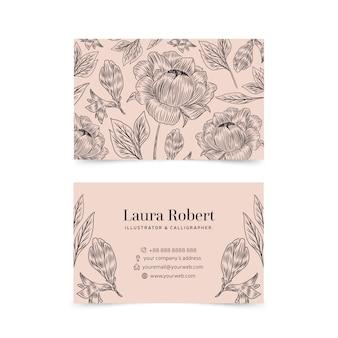 Реалистичные рисованной цветочный шаблон визитной карточки