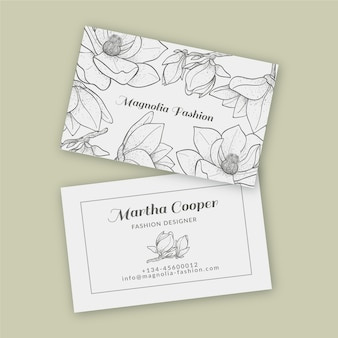Realistic hand drawn floral business card