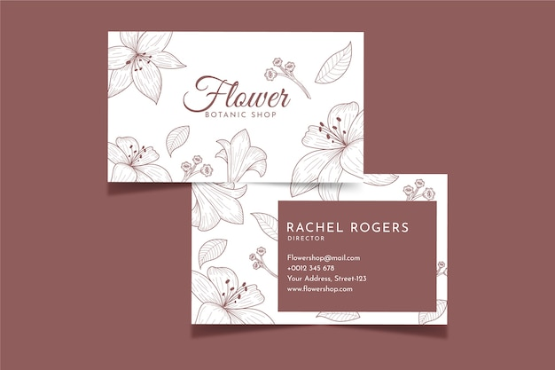 Realistic hand-drawn floral business card