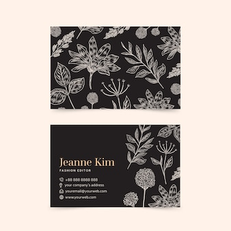 Realistic hand drawn floral template business card collection