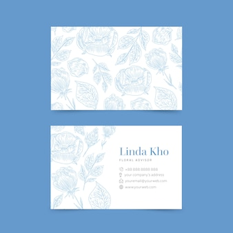 Realistic hand drawn floral template business card pack