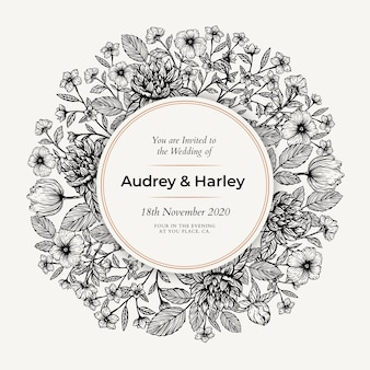 Realistic hand drawn floral wedding invitation