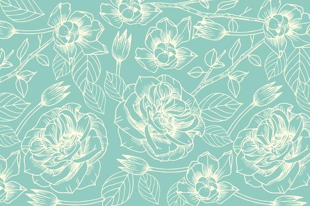 パステルブルーの背景に現実的な手描きの花