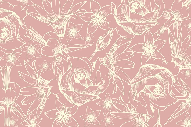 Realistic hand drawn flower on pastel pink background