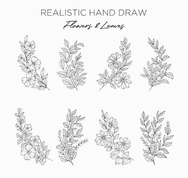 Realistic hand drawn flowers and leaves. new big set