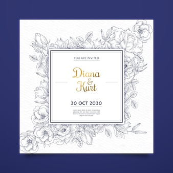 Realistic hand drawn flowers wedding invitation on blue shades