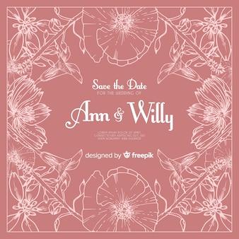 ピンクの現実的な手描きの花の結婚式の招待状