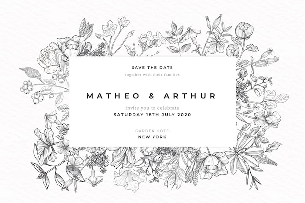 Realistic hand drawn flowers wedding invitation