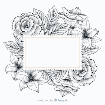 Realistic hand drawn flowers with blank banner
