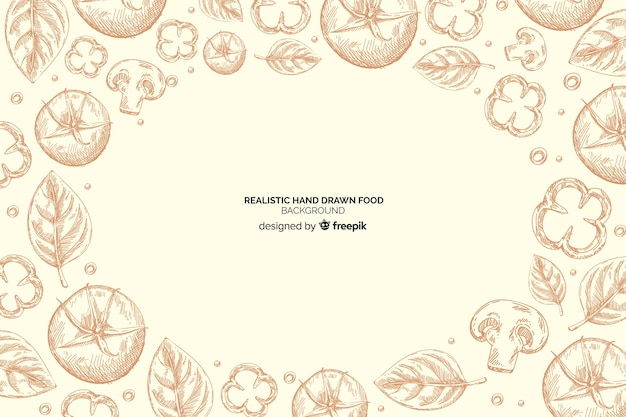 Realistic hand drawn food background
