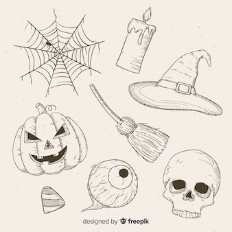Realistic hand drawn halloween collection
