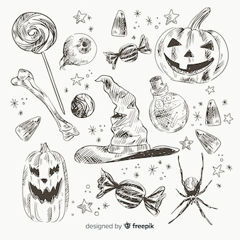 Realistic hand drawn halloween element collectio