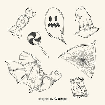 Realistic hand drawn halloween element collection