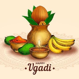 Realistic hand drawn happy ugadi illustration